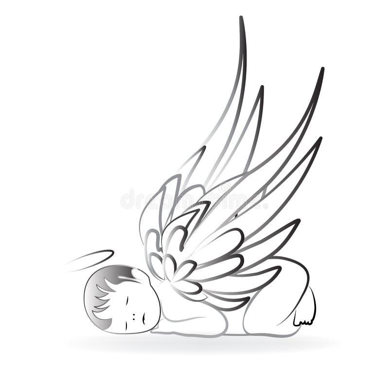 Plantilla del vector del icono del logotipo el dormir del ángel libre illustration