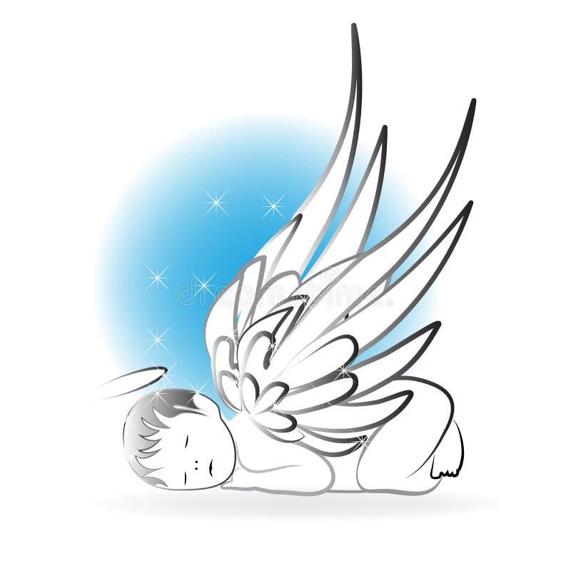 Plantilla del vector del icono del logotipo el dormir del ángel del bebé stock de ilustración