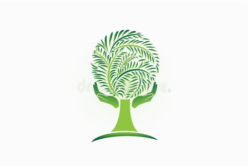 Plantilla del vector del icono del símbolo del cuidado de la mano de la gente del árbol del logotipo Concepto de la ecología ilustración del vector
