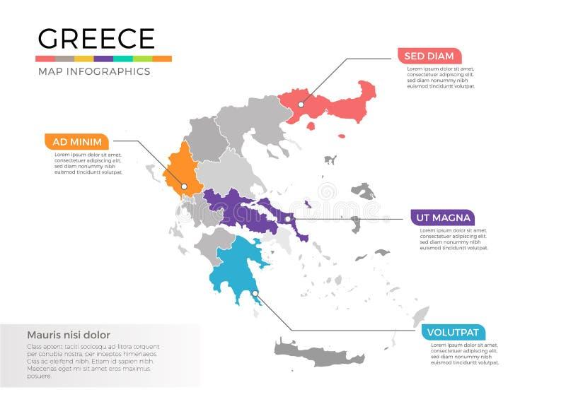 Plantilla del vector del infographics del mapa de Grecia con regiones y marcas del indicador stock de ilustración