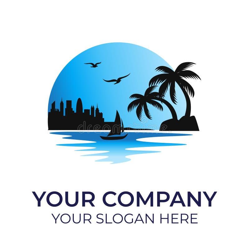 Plantilla del vector del logotipo de la playa stock de ilustración
