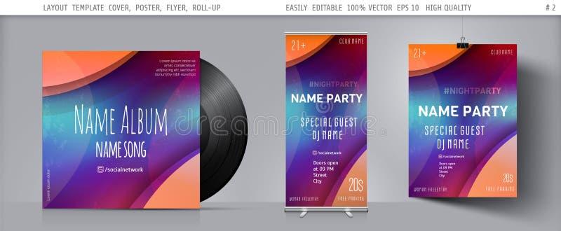 Plantilla del vector para el aviador, cartel, folleto, folleto, bandera, cubierta, invitación, anuncio para el club de baile de l fotos de archivo libres de regalías