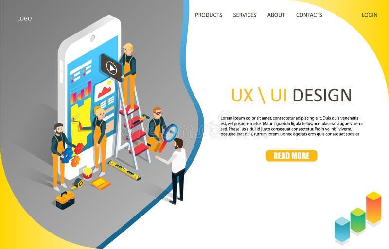 Plantilla del vector del sitio web de la página del aterrizaje del diseño de UX o de UI stock de ilustración
