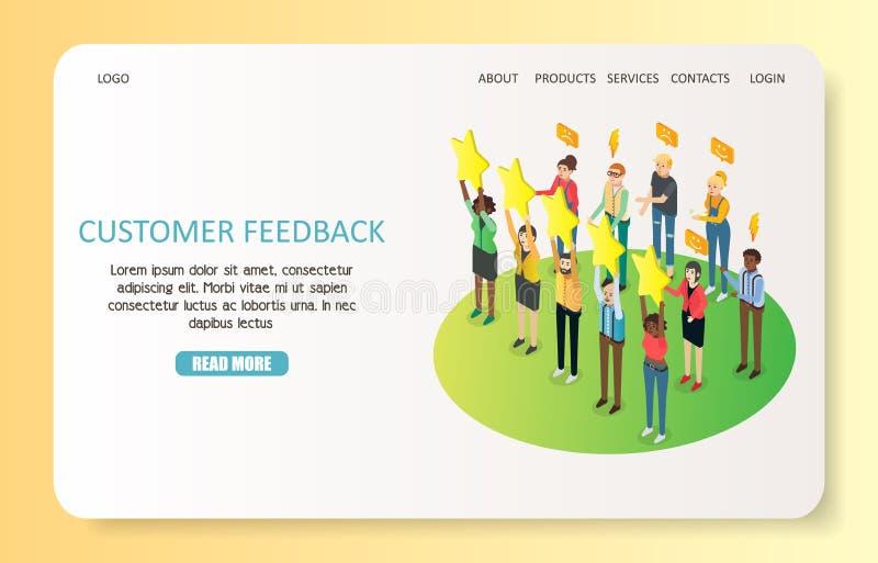 Plantilla del vector del sitio web de la página del aterrizaje de los comentarios de clientes ilustración del vector