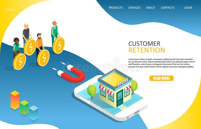 Plantilla del vector del sitio web de la página del aterrizaje de la retención del cliente stock de ilustración