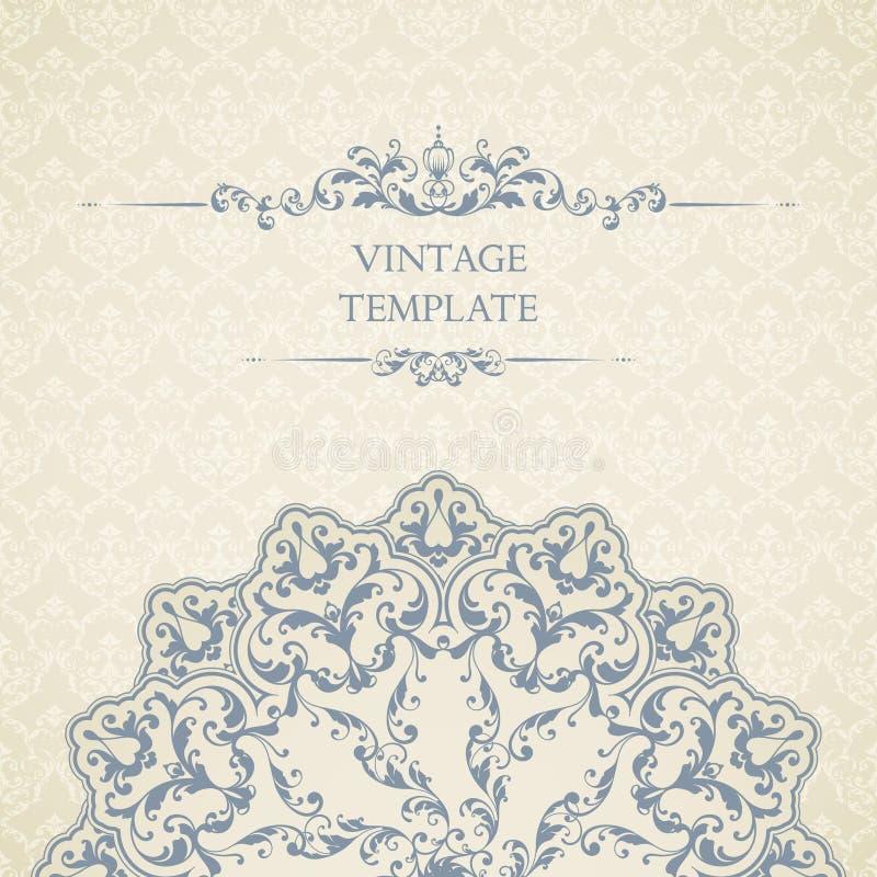 Plantilla del vintage con el modelo inconsútil, el elemento de la decoración y el marco adornado Diseño ornamental del cordón par libre illustration