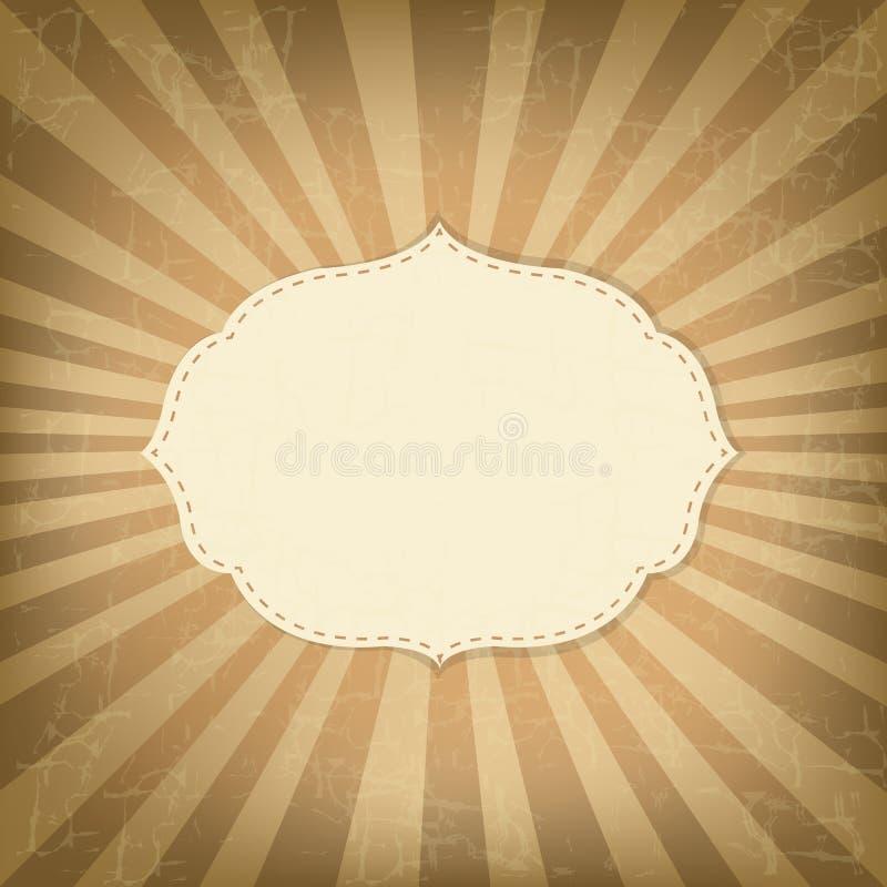 Plantilla del vintage con los rayos de sol ilustración del vector