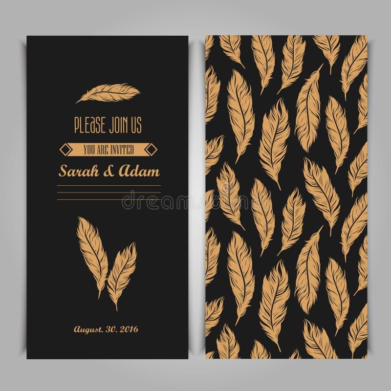 Plantilla del vintage de la invitación de Art Deco Elegant con la pluma de oro ilustración del vector