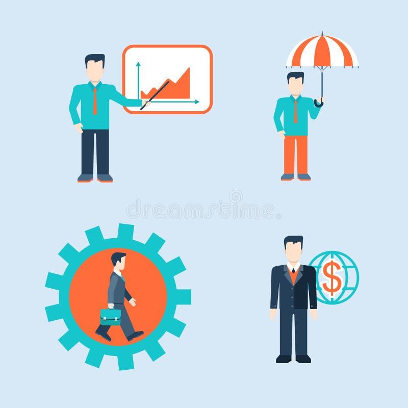 Plantilla del web de las situaciones del hombre de negocios de los iconos de la gente libre illustration
