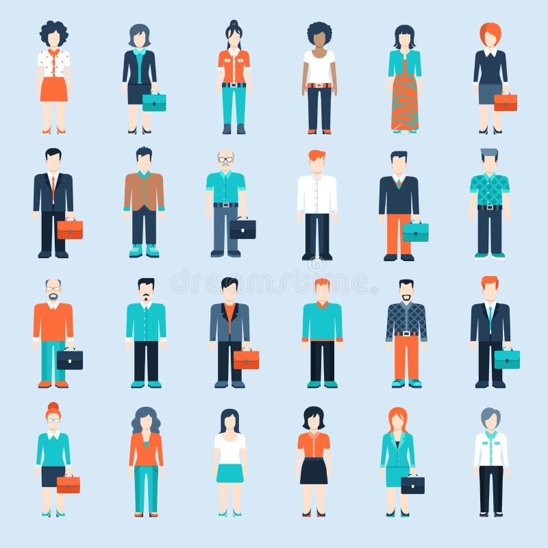 Plantilla del web de las situaciones del hombre de negocios de los iconos de la gente ilustración del vector