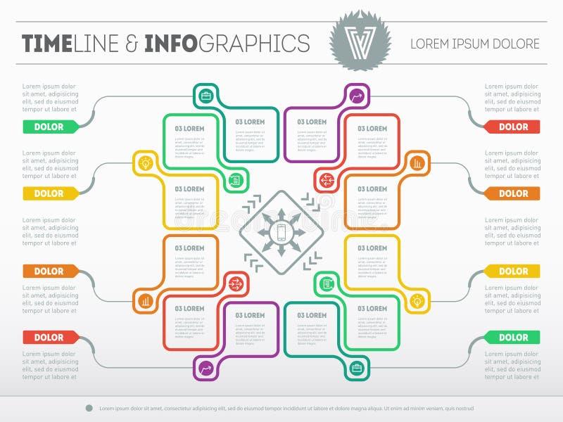 Plantilla del web para el diagrama o la presentación del círculo Concep del negocio stock de ilustración