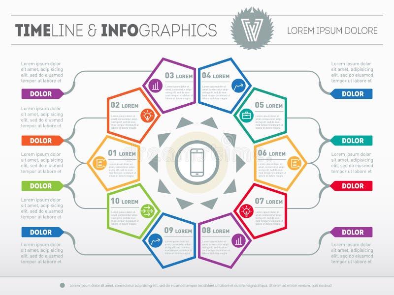 Plantilla del web para el diagrama o la presentación del círculo Concep del negocio ilustración del vector