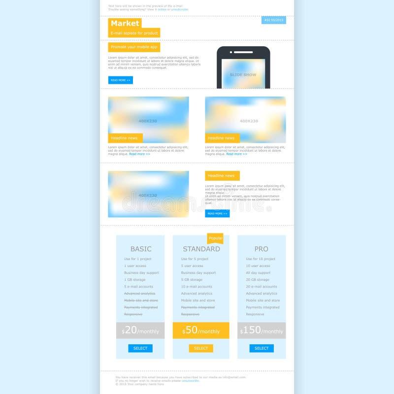 Plantilla del web para el email stock de ilustración