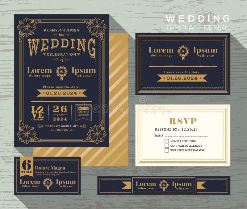 Plantilla determinada del marco de la invitación de la boda de la tipografía del vintage stock de ilustración