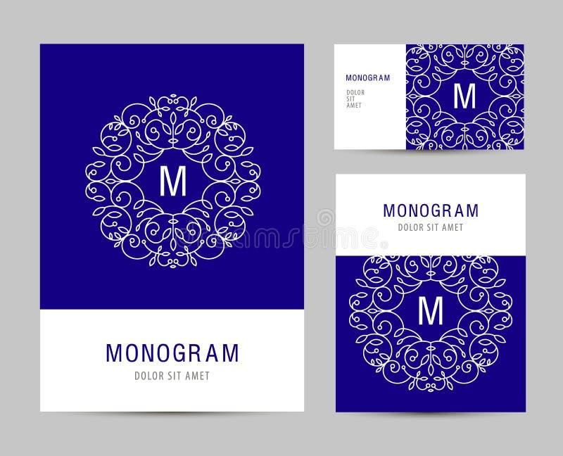 Plantilla determinada del negocio del vector con el logotipo de la letra del monograma Elementos de marcado en caliente del negoc ilustración del vector