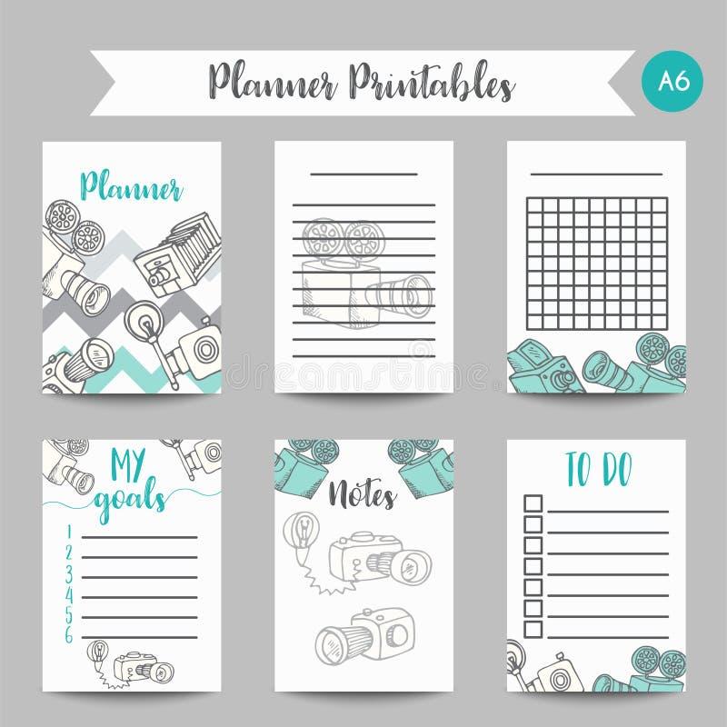 Plantilla diaria y semanal del calendario del planificador El papel y las etiquetas engomadas de nota fijaron con las cámaras ret libre illustration