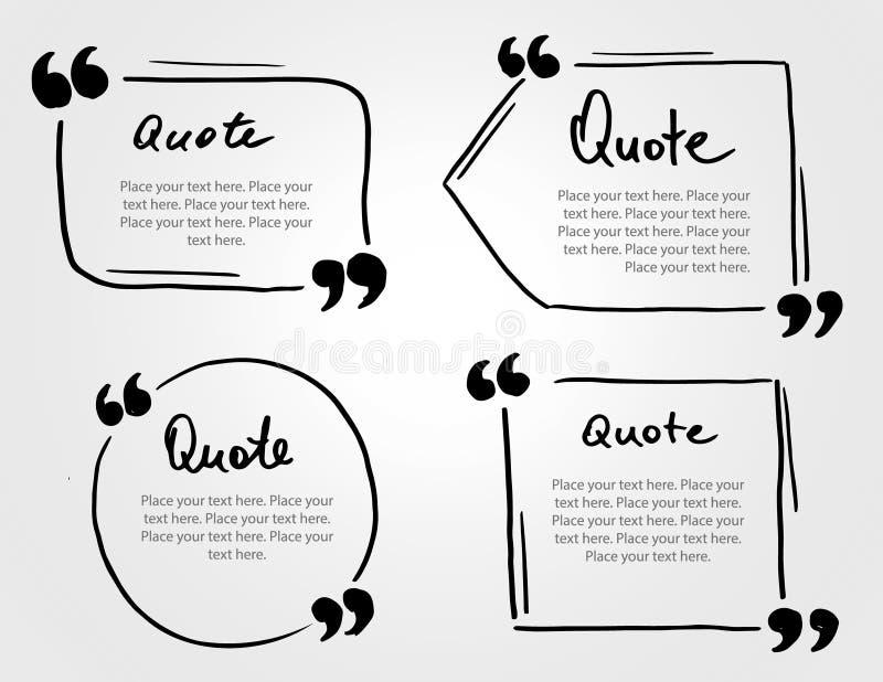 Plantilla dibujada mano de la cita del espacio en blanco del marcador del Grunge Burbuja de la cita con libre illustration