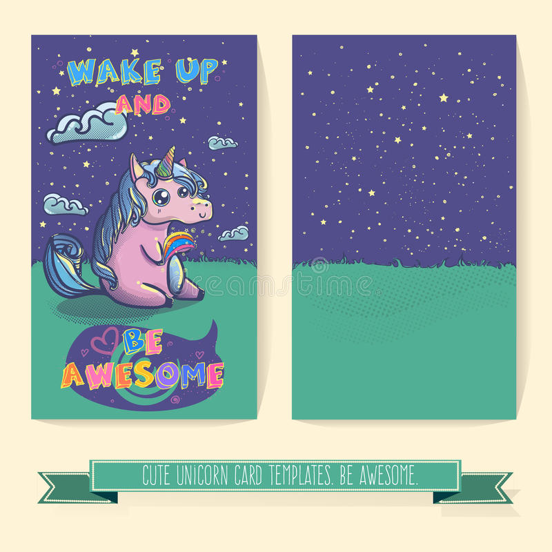 Plantilla dibujada mano de la tarjeta del unicornio de la historieta de la fantasía libre illustration