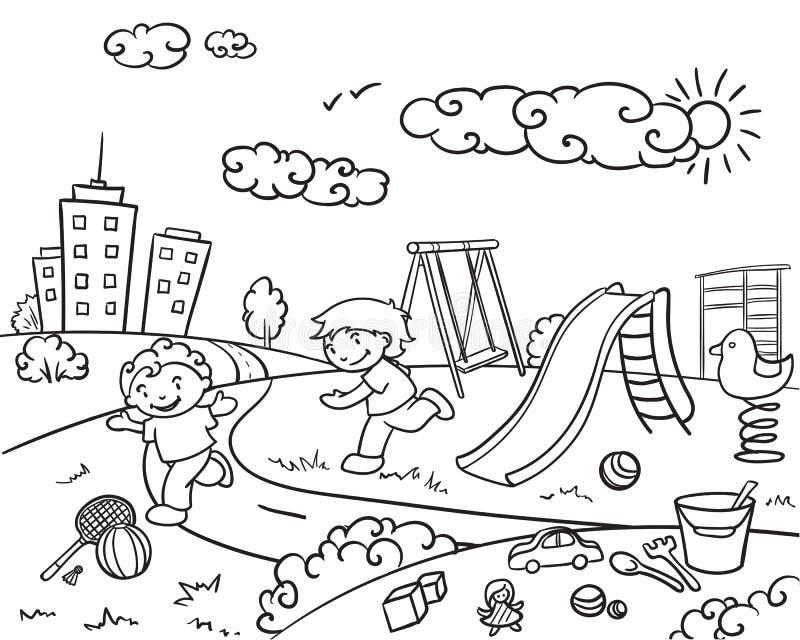 Plantilla Dibujada Mano Del Patio De Los Niños Ilustración del ...