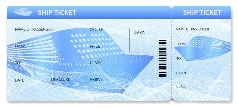 Plantilla/disposición del boleto de la nave del vector Viaje por transporte del trazador de líneas de la travesía stock de ilustración