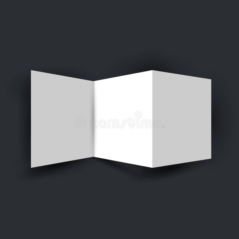 Plantilla doblada de la maqueta del folleto del aviador de la página del blanco 3 Visión superior Folleto para su diseño de negoc ilustración del vector