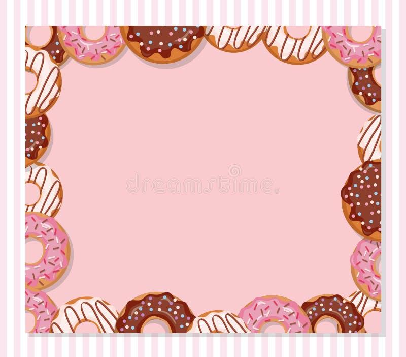 Plantilla dulce del diseño de la panadería Marco del buñuelo de la historieta en rosa en colores pastel ilustración del vector