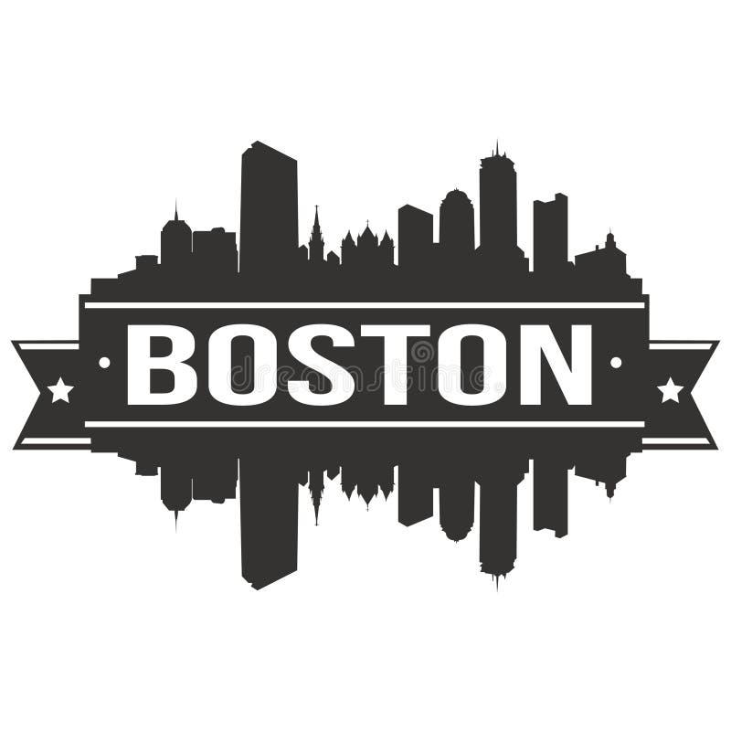 Plantilla Editable de la silueta de Art Design Skyline Flat City del vector del icono de Boston Massachusetts los Estados Unidos  fotos de archivo