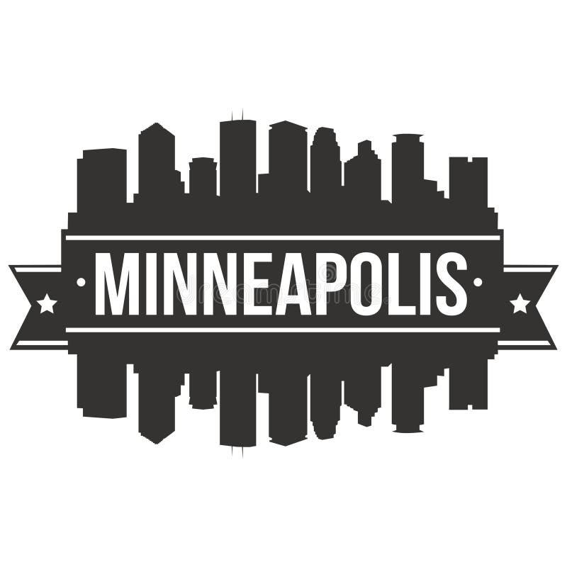 Plantilla Editable de la silueta de Art Design Skyline Flat City del vector del icono de Minneapolis Minnesota los Estados Unidos ilustración del vector