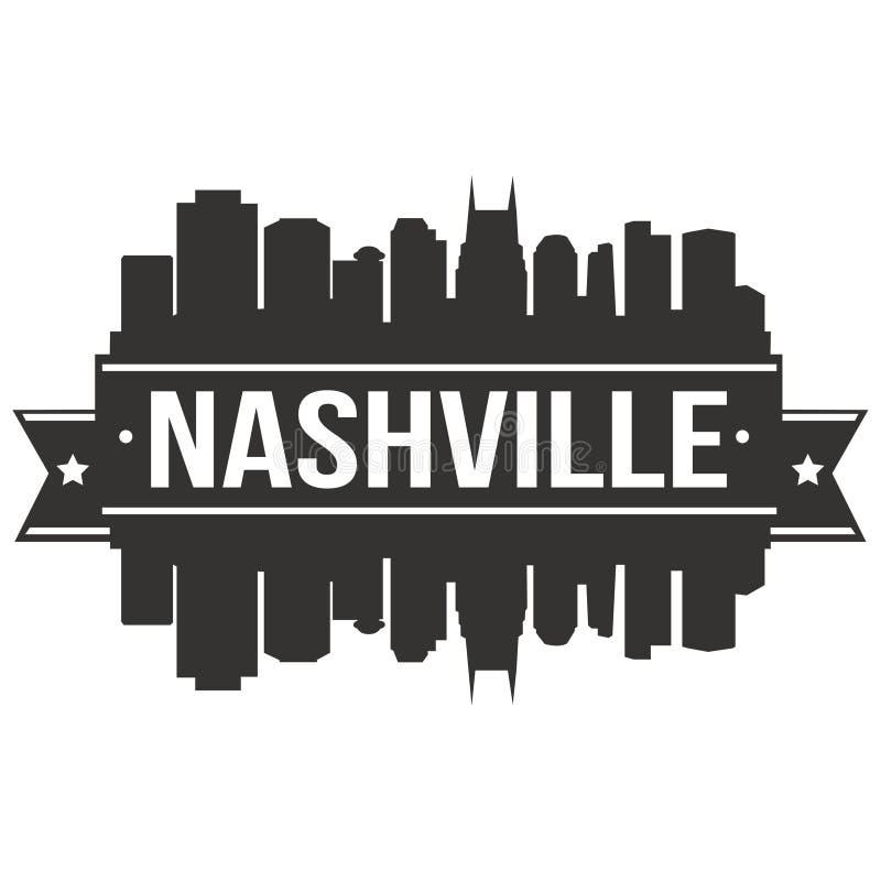Plantilla Editable de la silueta de Art Design Skyline Flat City del vector del icono de Nashville Tennessee United States Of Ame imagenes de archivo