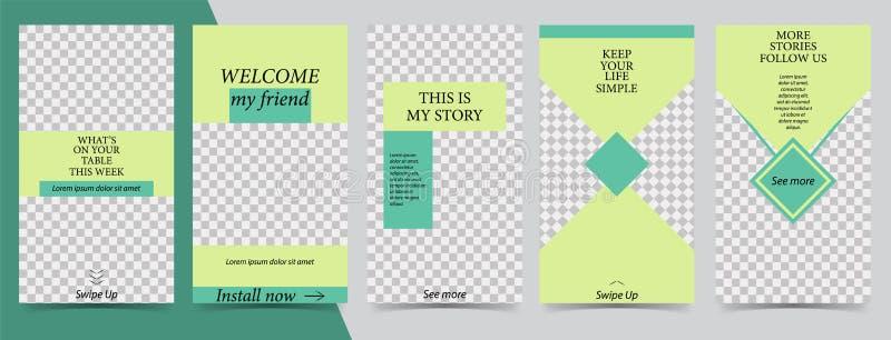 Plantilla editable de moda para las historias sociales de las redes, historias del instagram, ejemplo del vector Fondos del diseñ ilustración del vector