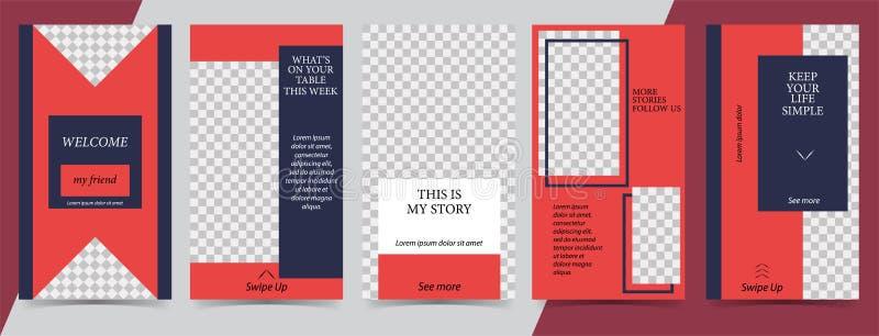 Plantilla editable de moda para las historias sociales de las redes, historias del instagram, ejemplo del vector Fondos del diseñ stock de ilustración