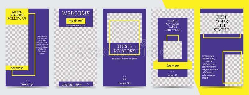 Plantilla editable de moda para las historias sociales de las redes, ejemplo del vector Fondos del diseño para los medios sociale ilustración del vector