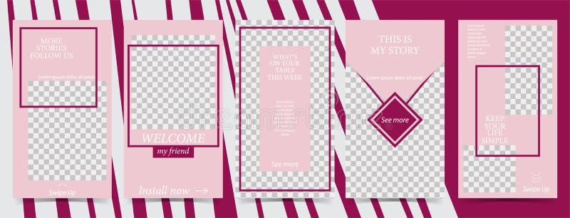 Plantilla editable de moda para las historias sociales de las redes, ejemplo del vector Fondos del diseño para los medios sociale libre illustration