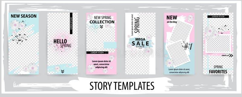 Plantilla editable de moda para las historias sociales de las redes, primavera stock de ilustración