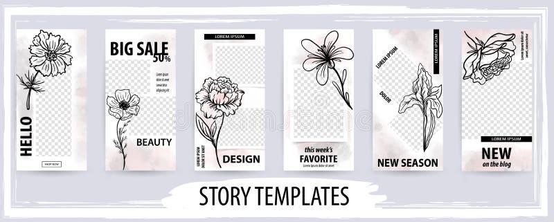 Plantilla editable de moda para las redes sociales historia, ejemplo del vector stock de ilustración