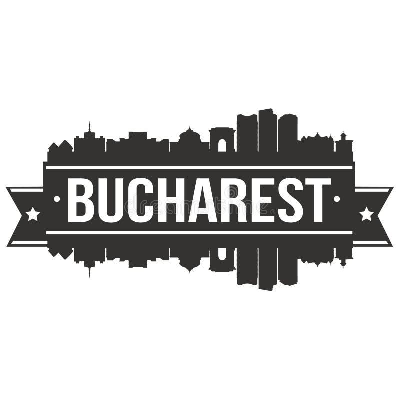 Plantilla Editable del icono de Bucarest Rumania Europa del vector de la silueta euro de Art Design Skyline Flat City stock de ilustración