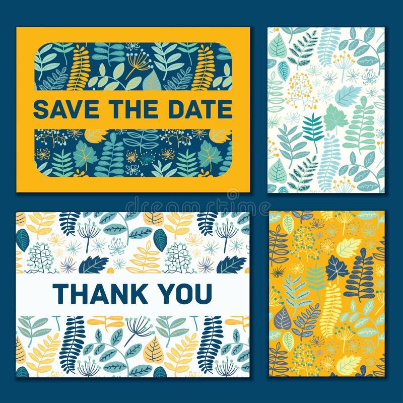 Plantilla editable, diseño de la invitación de la invitación de boda del vector del modelo Salve la tarjeta de fecha libre illustration