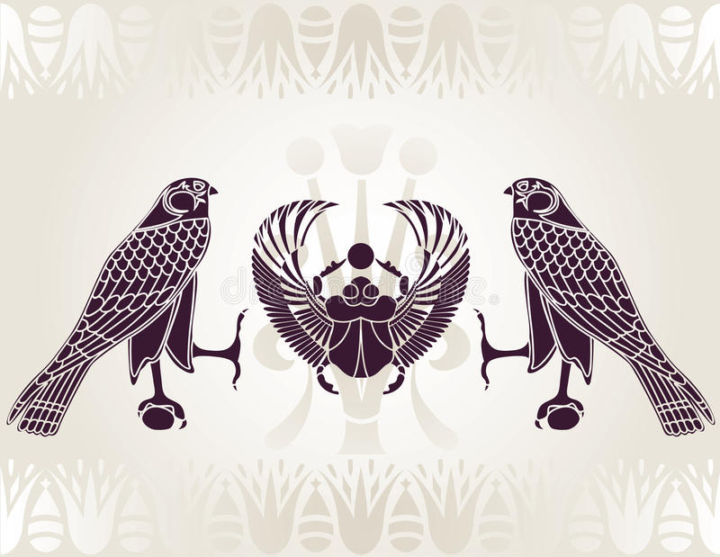 Plantilla egipcia de Horus y del escarabajo foto de archivo