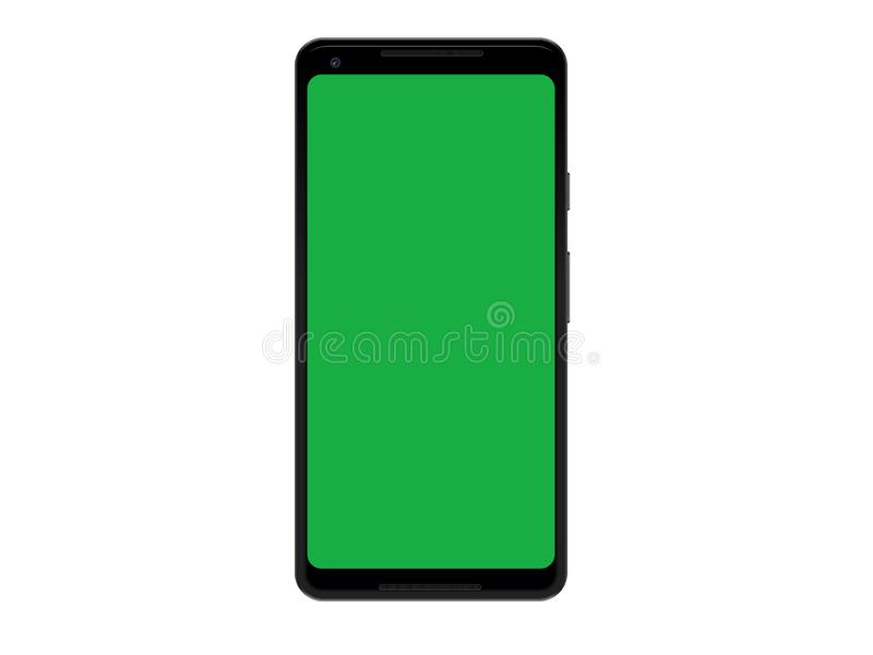 Plantilla elegante de la maqueta del dispositivo del tel?fono del negro del vector con la pantalla verde ilustración del vector