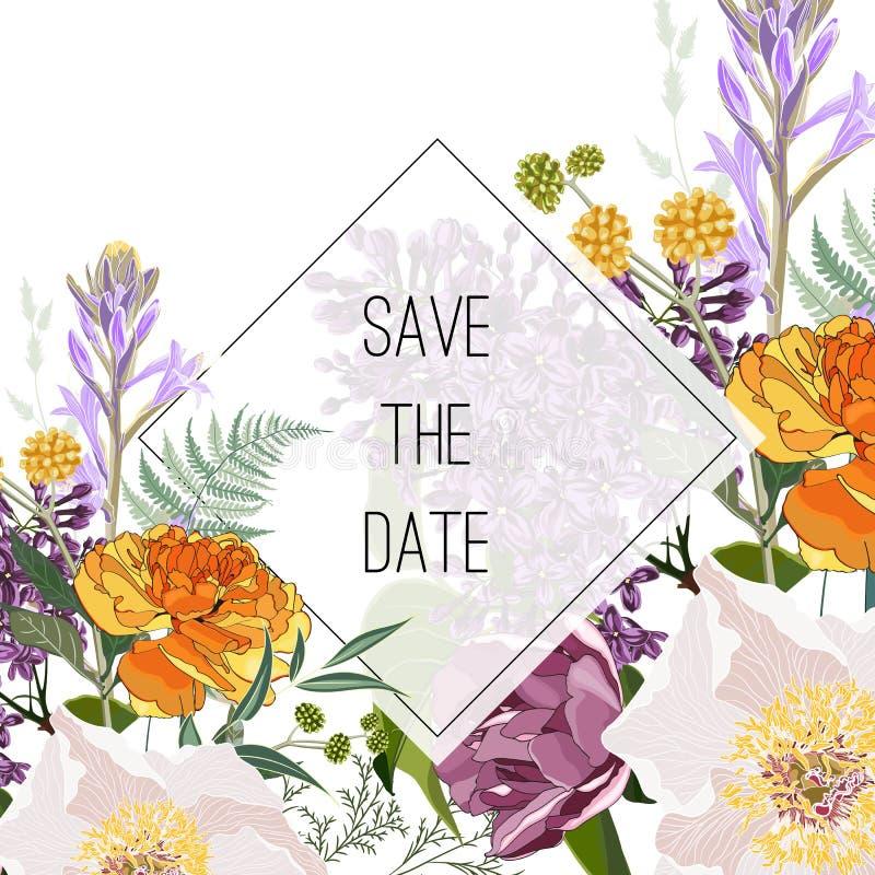 Plantilla elegante de la tarjeta del ramo de las flores salvajes El cartel floral, invita stock de ilustración