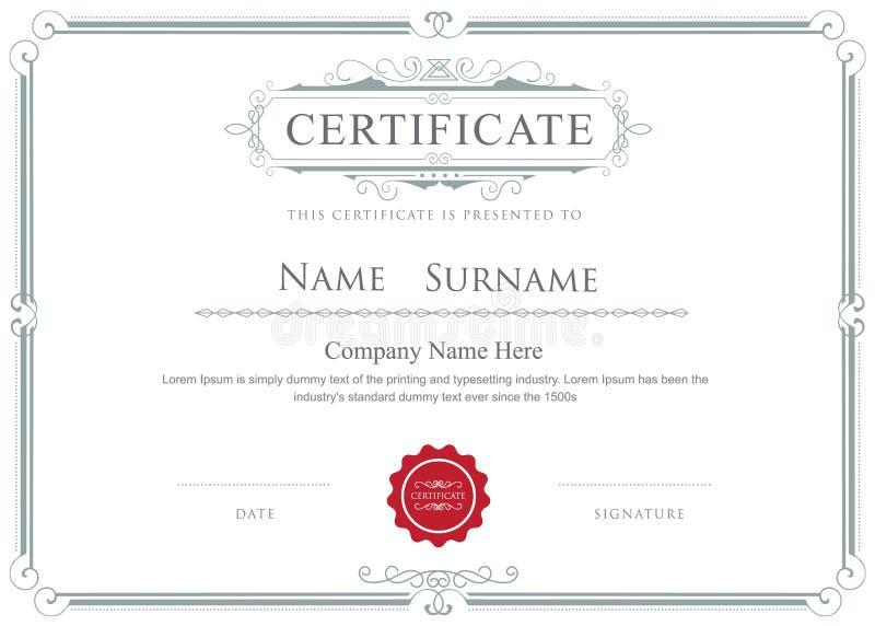 Plantilla elegante de los flourishes del vector de la frontera del certificado stock de ilustración