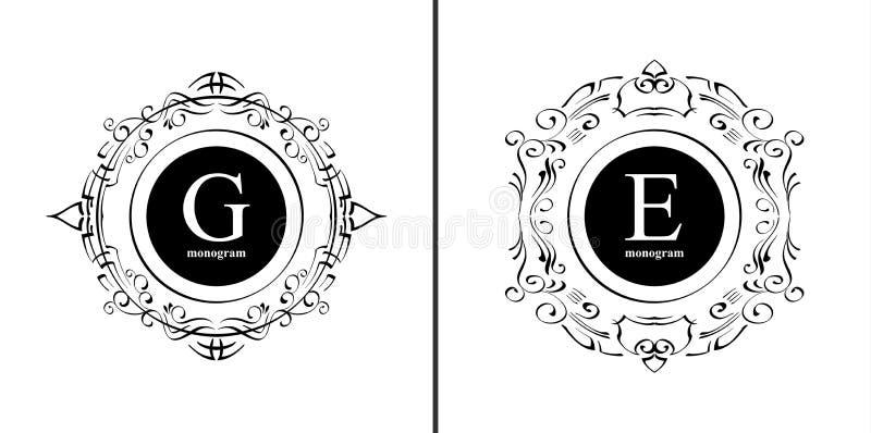 Plantilla elegante del diseño del monograma ilustración del vector