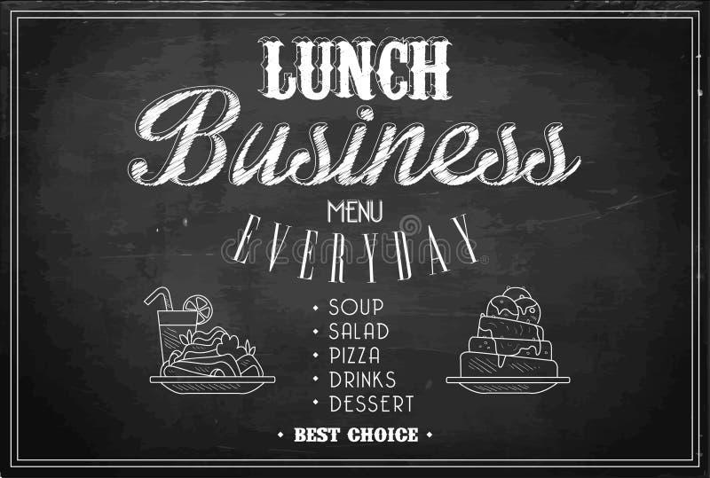 Plantilla elegante del men? del almuerzo de negocios en la pizarra negra Bosquejo de dos placas con los platos y del vidrio del c ilustración del vector