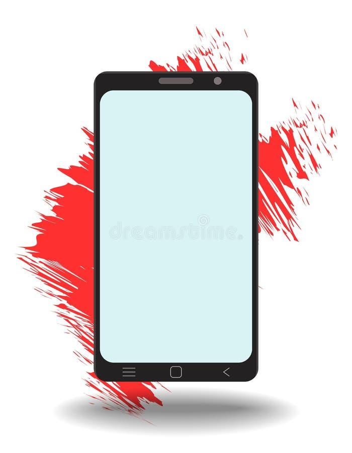 Plantilla elegante del tel?fono de la maqueta simple con la pantalla en blanco en el fondo blanco libre illustration