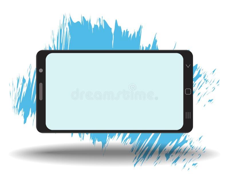 Plantilla elegante del tel?fono de la maqueta simple con la pantalla en blanco en el fondo blanco stock de ilustración