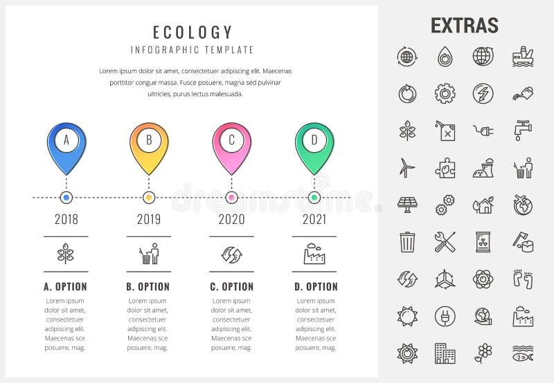 Plantilla, elementos e iconos infographic de la ecología stock de ilustración