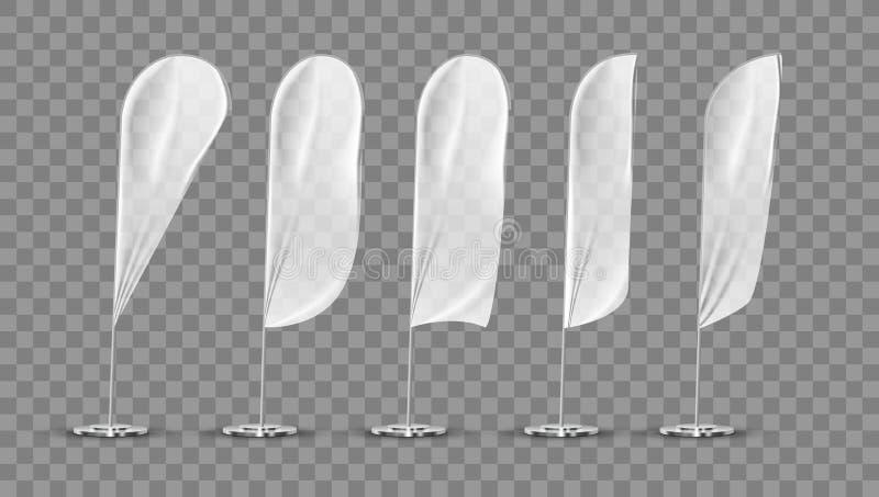 Plantilla en blanco blanca transparente de la bandera de la bandera de la expo stock de ilustración