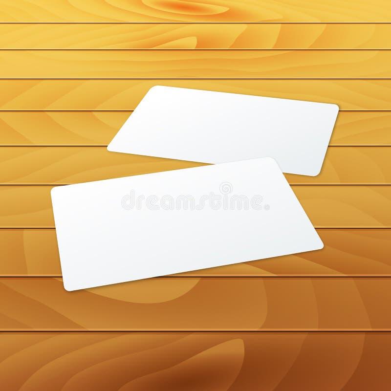 Plantilla en blanco de la maqueta de las tarjetas de visita en la madera ilustración del vector