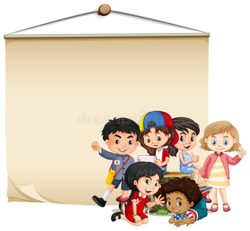 Plantilla en blanco de la muestra con los muchachos y las muchachas stock de ilustración