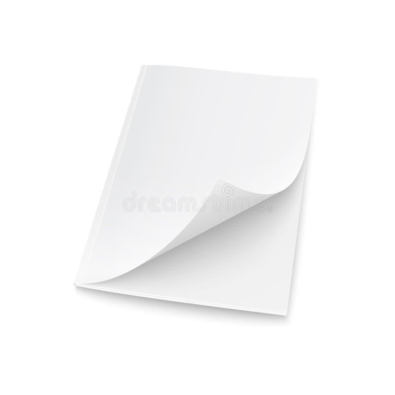 Plantilla en blanco de la revista con la cubierta elevada. ilustración del vector